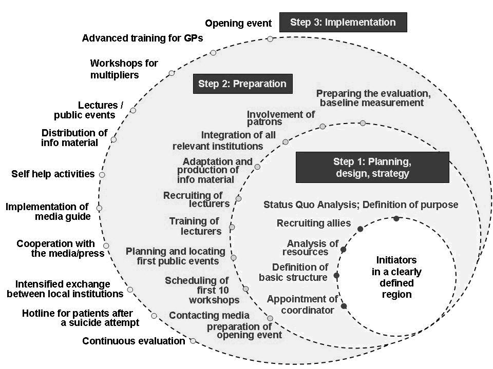 Fig 1.: Overview of tasks to establish a regional intervention programme